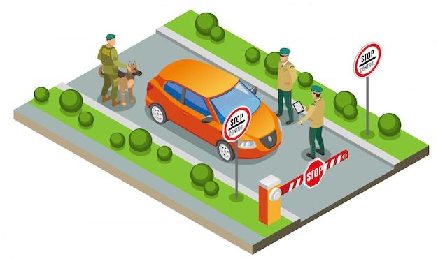 Ilustração de inspeção de fronteira