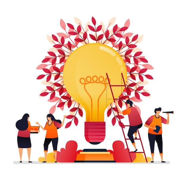 Ilustração de inspiração para trabalho em equipe, comunicação, iluminação, ideias de brainstorming