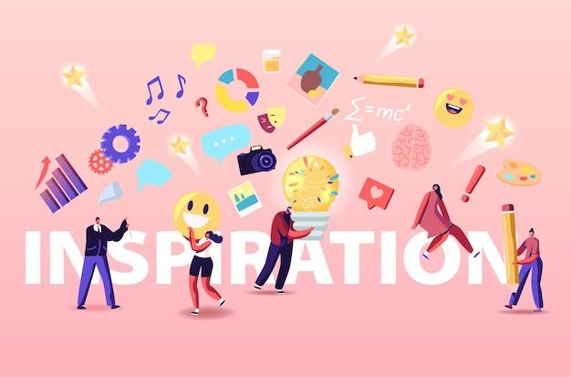 Ilustração de inspiração. personagens superam crise criativa, trabalho em equipe e busca de novas idéias