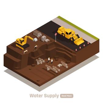 Ilustração de instalação de abastecimento de água