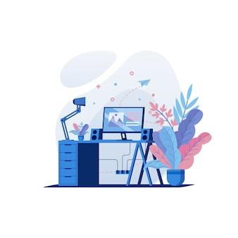 Ilustração de instalação de trabalho e escritório