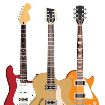 Ilustração de instrumento musical de guitarra elétrica de rock e cordas de metal