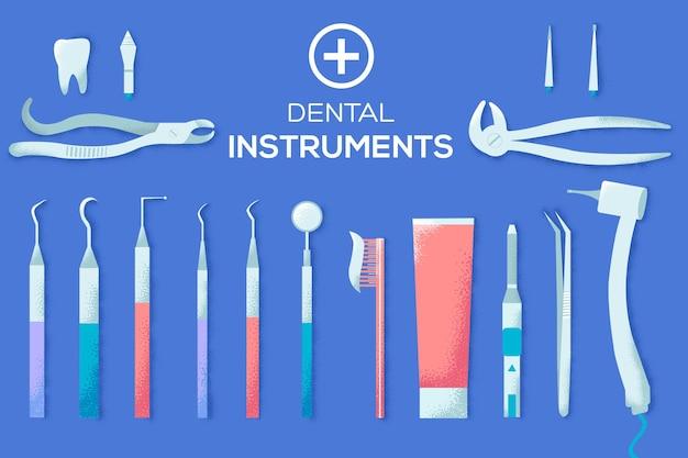 Ilustração de instrumentos dentais planos.