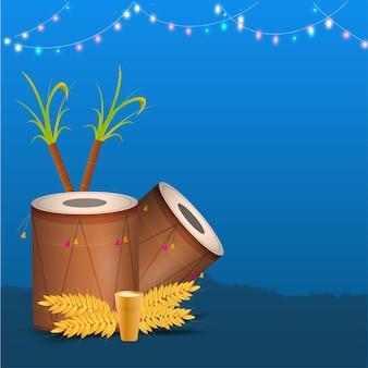 Ilustração de instrumentos dhol com cana-de-açúcar
