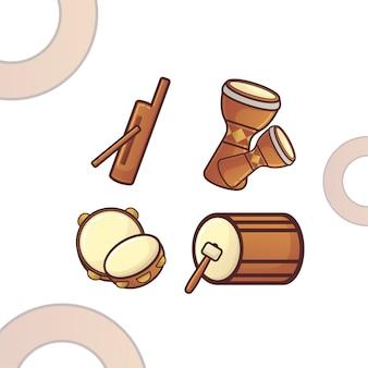 Ilustração de instrumentos musicais tradicionais