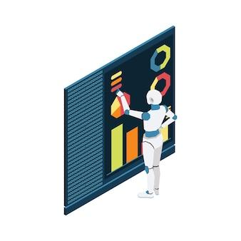Ilustração de inteligência artificial com robô isométrico e programa de computador