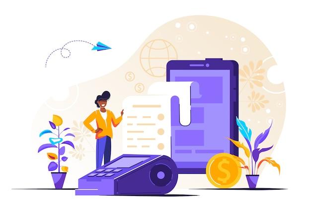 Ilustração de interface do usuário de pagamento móvel com