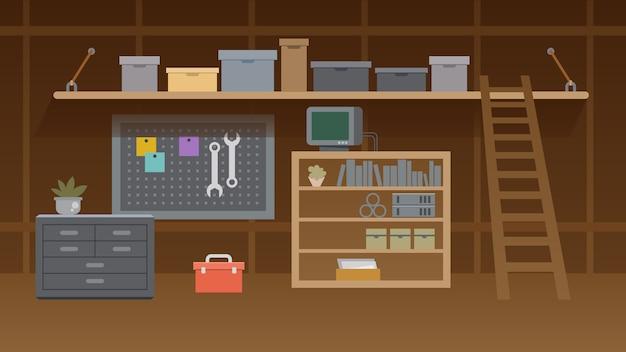 Ilustração de interior de oficina de porão