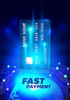 Ilustração de internet banking com cartão de crédito