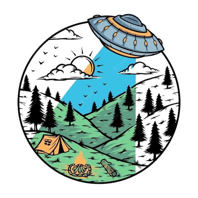 Ilustração de invasão alienígena na montanha