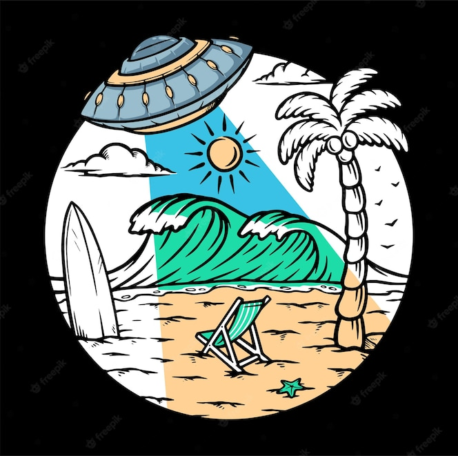 Ilustração de invasão alienígena na praia