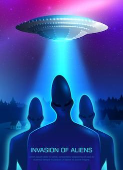 Ilustração de invasão alienígena