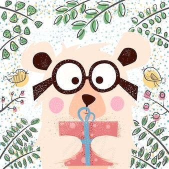 Ilustração de inverno bonito. personagens do urso