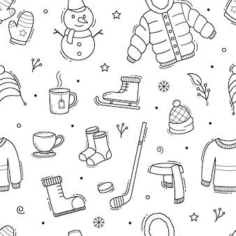 Ilustração de inverno doodle padrão sem emenda