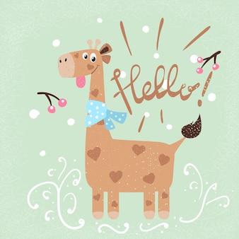 Ilustração de inverno e neve. personagens de desenhos animados de girafa.