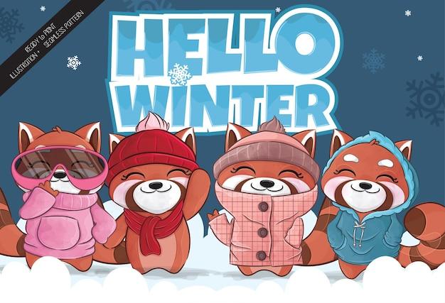 Ilustração de inverno feliz do panda vermelho pequeno bonito ilustração de fundo