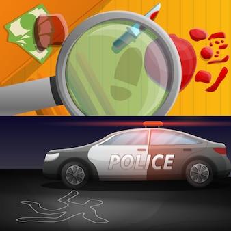Ilustração de investigação de crime definido no estilo dos desenhos animados