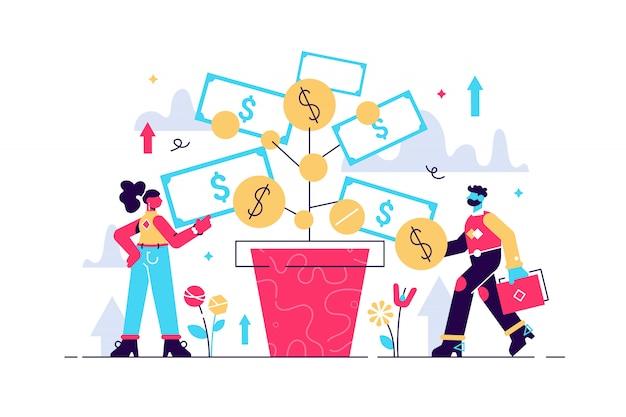 Ilustração de investimento. depositar lucros e aumentar negócios de riqueza. as pessoas do trabalho em equipe cultivam dinheiro para financiar negócios futuros. aumente os dólares de receita com uma estratégia bem sucedida de investidores bancários
