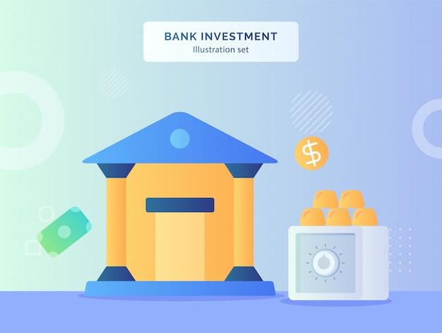 Ilustração de investimento do banco definir escritório do banco nas proximidades de ouro no fundo do cofre de dólar moeda de dinheiro com estilo simples.