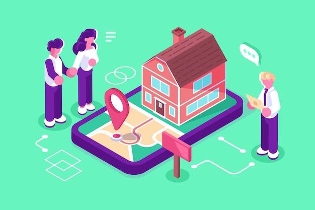 Ilustração de investimento imobiliário para lucro