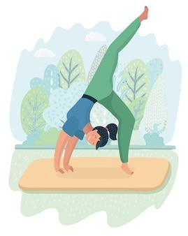 Ilustração de ioga de postura de mulher no fundo do parque. menina bonita fazendo exercícios na paisagem natural. +