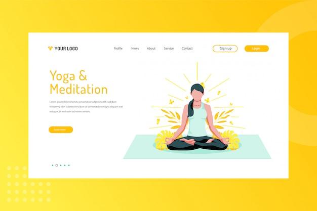 Ilustração de ioga e meditação na página de destino