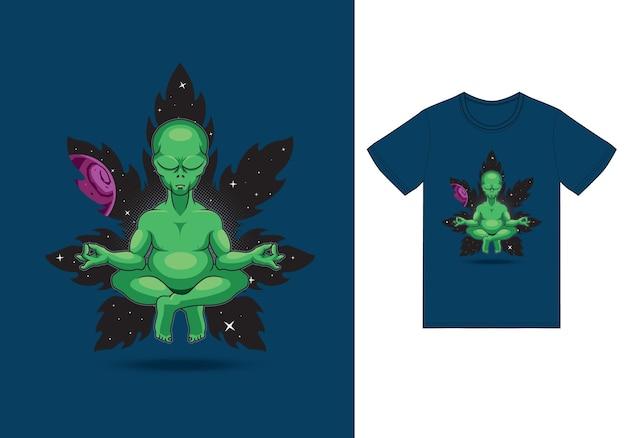 Ilustração de ioga meditasi alienígena com vetor de design premium de camiseta o conceito de tecnologia isolada. estilo de desenho plano adequado para páginas da web de destino, banners, folhetos, adesivos, cartões