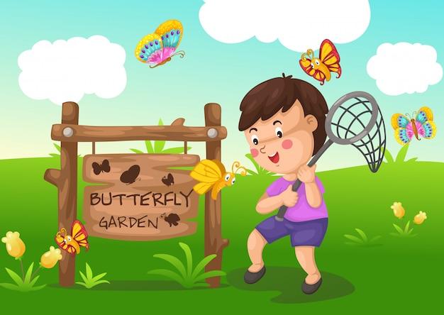 Ilustração, de, isolado, borboleta, jardim