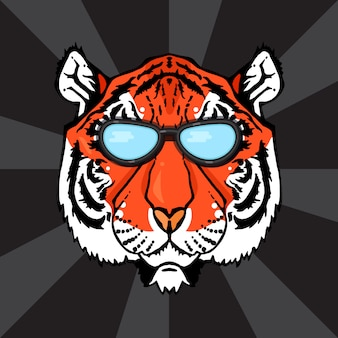 Ilustração, de, isolado, cabeça tigre, com, óculos