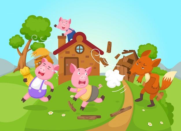 Ilustração, de, isolado, conto fadas, três, porcos pequenos, vetorial