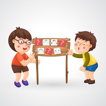 Ilustração, de, isolado, crianças, fazendo, dever casa
