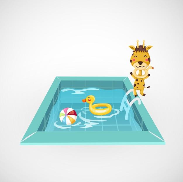 Ilustração, de, isolado, girafa, e, um, piscina