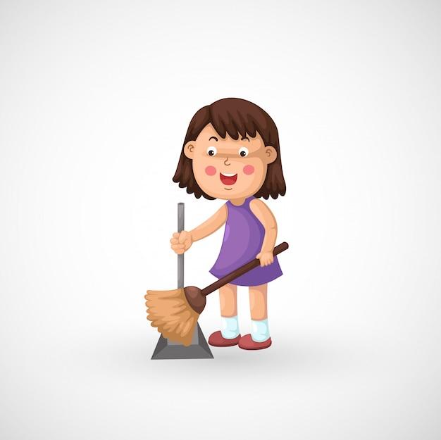 Ilustração, de, isolado, um, menina, limpeza, chão