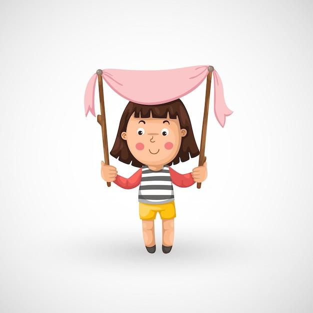 Ilustração, de, isolado, um, menina
