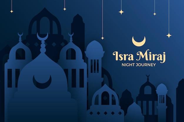 Ilustração de isra miraj em estilo de papel com lua