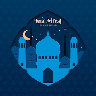 Ilustração de isra miraj em estilo de papel