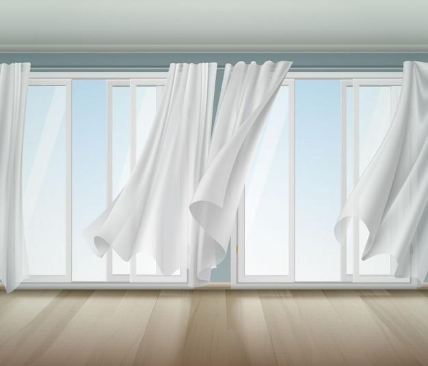 Ilustração de janela aberta de cortinas ondulantes