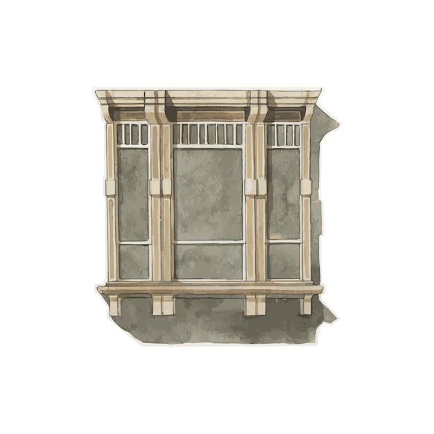 Ilustração, de, janela, cor água, estilo