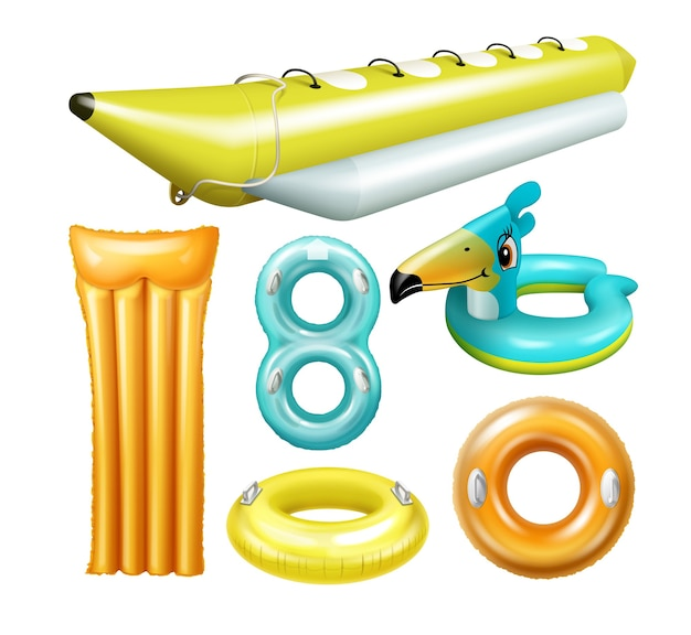 Ilustração de jangada inflável com banana boat