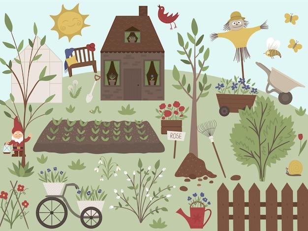 Ilustração de jardim com ferramentas