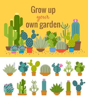 Ilustração de jardim de cactos em casa
