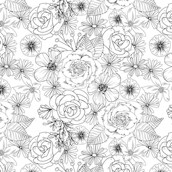 Ilustração de jardim de rosas preto e branco