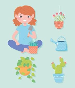 Ilustração de jardinagem doméstica, pá de menina e plantas em vaso