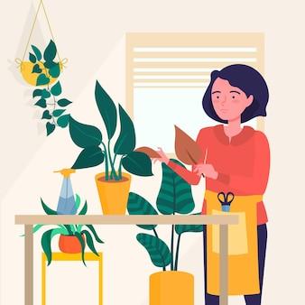 Ilustração de jardinagem em casa