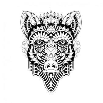 Ilustração de javali, zentangle de mandala e design de tshirt