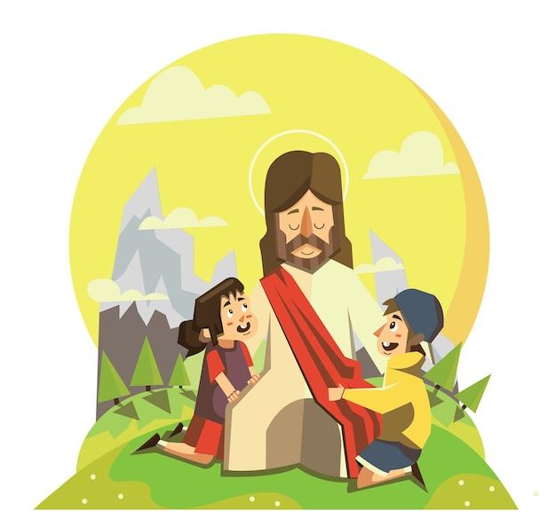 Ilustração de jesus com crianças