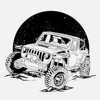 Ilustração de jipe em preto e branco