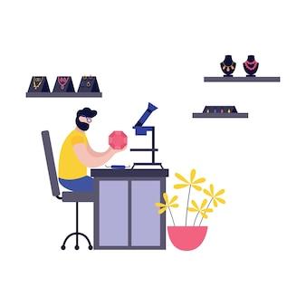 Ilustração de joalheiro no trabalho