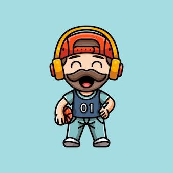 Ilustração de jogador de basquete fofo