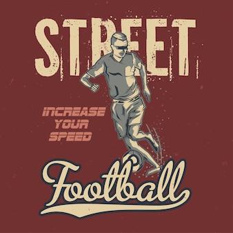 Ilustração de jogador de futebol vintage